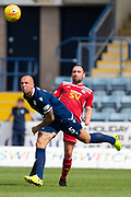 10th August 2019; Dens Park, Dundee, Scotland; SPFL Championship football, Dundee FC versus Ayr; Jordon Forster of Dundee heads clear from Michael Moffat of Ayr United