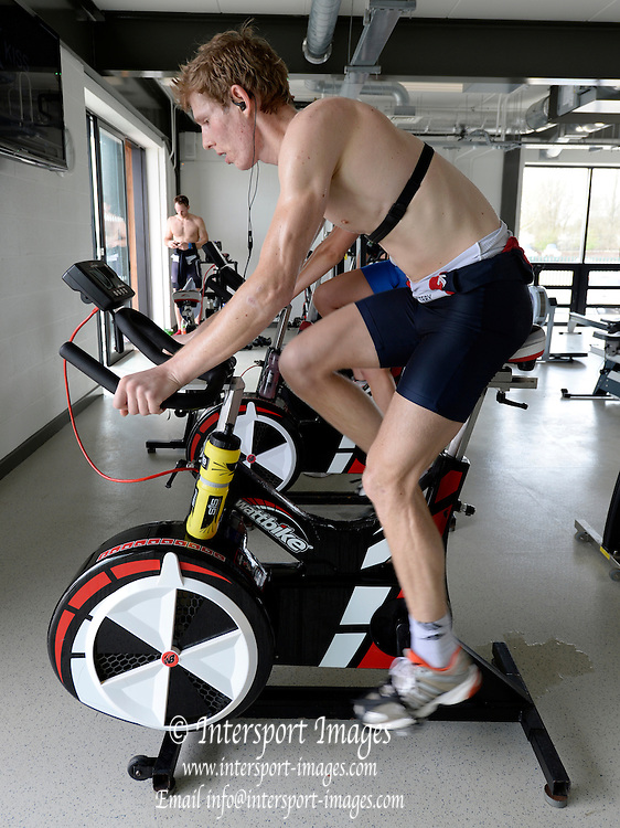 Reading, UNITED KINGDOM. Jonathan CLEGG. on the Wattbike,  during the GBR Media Day, Redgrave and Pinsent Rowing Lake. GB Rowing Training Base, Caversham, Berks. Wednesday   19/03/2014 [Mandatory Credit: Peter Spurrier/Intersport Images]