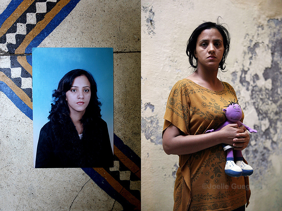 Rachida at the age of 20 years - photograph on the left. Rachida Benchato now, single mother of 31 years old - photograph on the right- Marrakech June 2013