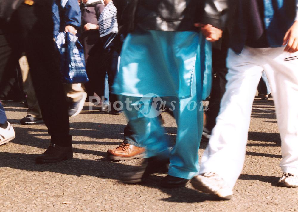 People walking on London pavement; UK