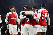 Arsenal's Alexandre Lacazette (9) celebrates with team mates 1-0 Arsenal during the Europa League group stage match between Arsenal and FK QARABAG at the Emirates Stadium, London, England on 13 December 2018.