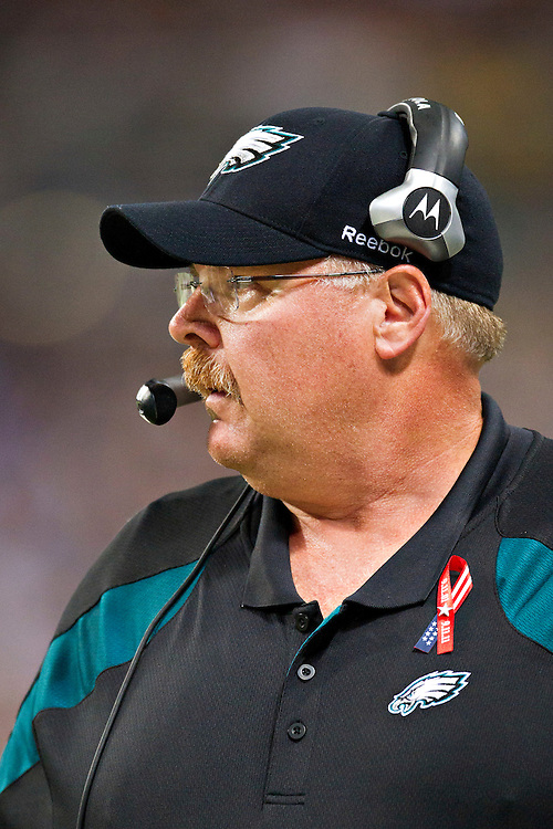 ST. LOUIS, MO - SEPTEMBER 11:   Head Coach Andy Reid of the Philadelphia Eagles on the sidelines during a game against the St. Louis Rams at the Edward Jones Dome on September 11, 2011 in St. Louis, Missouri.  The Eagles defeated the Rams 31 to 13.  (Photo by Wesley Hitt/Getty Images) *** Local Caption *** Andy Reid