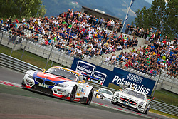 10.08.2013, Red Bull Ring, Spielberg, AUT, ADAC GT Masters, 1. Rennen, im Bild DB Motorsport, (#12, Simon Knap, NED und Jeroen den Boer, NED), Polarweiss Racing, (#10, Maximilian Buhl, GER und Maximilian Goetz, GER) // during the ADAC GT Masters 1st race day at the Red Bull Ring in Spielberg on August 10th 2013, EXPA Pictures © 2013, PhotoCredit: EXPA/ Mario Kuhnke