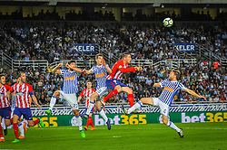 April 19, 2018 - San Sebastian, Spain - Fernando Torres of Atletico Madrid duels for the ball with Raul Navas, Aritz Elustondo and Illarramendi of Real Sociedad during the Spanish league football match between Real Sociedad and Atletico Madrid at the Anoeta Stadium on 19 April 2018 in San Sebastian, Spain  (Credit Image: © Jose Ignacio Unanue/NurPhoto via ZUMA Press)