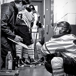 TRENTON, ON - NOV 10:  Buffalo Sabres between the periods during the OJHL regular season game between the  Buffalo Jr Sabres and Trenton Golden Hawks on November 10, 2016 in Trenton, Ontario. (Photo by Amy Deroche/OJHL Images)