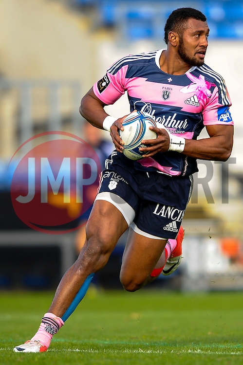 Stade Francais Outside Centre (#13) Waisea Vuidarvuwalu runs in his second try of the first half - Photo mandatory by-line: Rogan Thomson/JMP - Tel: Mobile: 07966 386802 13/10/2012 - SPORT - RUGBY - Kassam Stadium - Oxford. London Welsh v Stade Francais - European Challenge Cup