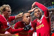 EINDHOVEN, PSV - FC Twente, voetbal Eredivisie, seizoen 2013-2014, 08-02-2014, Philips Stadion, PSV speler Jurgen Locadia (R) heeft de 2-0 gescoord uit een voorzet van PSV speler Memphis Depay (M), PSV speler Oscar Hiljemark (L).