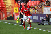 Charlton Athletic defender Ben Purrington (16) dribbling down the wing during the EFL Sky Bet League 1 match between Charlton Athletic and Rochdale at The Valley, London, England on 4 May 2019.