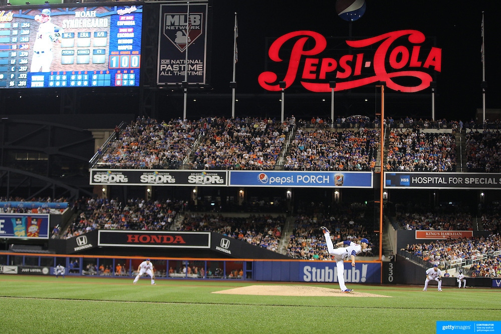 Pitcher Noah Syndergaard, New York Mets, pitching during the New York Mets Vs Washington Nationals MLB regular season baseball game at Citi Field, Queens, New York. USA. 2nd August 2015. Photo Tim Clayton