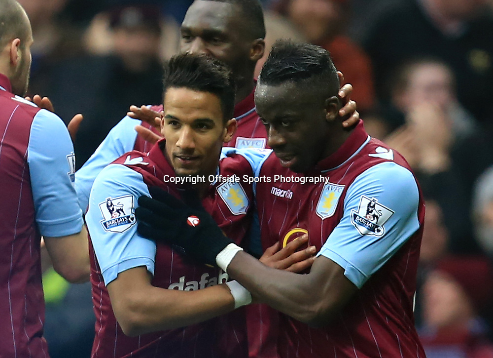 15th February 2015 - FA Cup 5th Round - Aston Villa v Leicester City - Scott Sinclair of Aston Villa and Aly Cissokho celebrate the 2nd goal (2-0) - Photo: Paul Roberts / Offside.