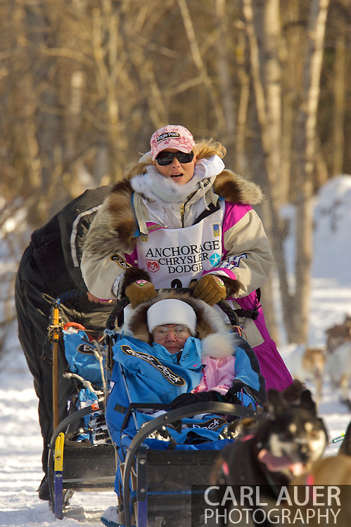March 7th, 2009:  Anchorage, Alaska - Fan favorite DeeDee Jonrowe of Willow, Alaska heads towards the Alaska Native Hospital during the 2009 Iditarod Ceremonial Start.