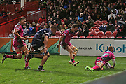 Gloucester scrum half Ben Vellacott (9) scores a try 50-9 second half  during the European Rugby Challenge Cup match between Gloucester Rugby and SU Agen at the Kingsholm Stadium, Gloucester, United Kingdom on 19 October 2017. Photo by Gary Learmonth.