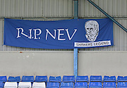 Fans banner pays tribute to a bury legend before the Sky Bet League 1 match between Bury and Coventry City at Gigg Lane, Bury, England on 26 September 2015. Photo by Mark Pollitt.