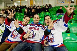 Fans of Slovenia during friendly ice-hockey match between Slovenia and Switzerland, on December 14, 2011 at Hala Tivoli, Ljubljana, Slovenia. (Photo By Matic Klansek Velej / Sportida)