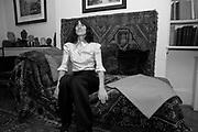 BELLA FREUD ON FREUD'S COUCH, Freud Museum dinner, Maresfield Gardens. 16 June 2011. <br /> <br />  , -DO NOT ARCHIVE-© Copyright Photograph by Dafydd Jones. 248 Clapham Rd. London SW9 0PZ. Tel 0207 820 0771. www.dafjones.com.
