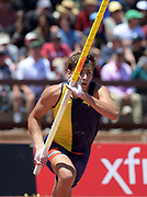 Jun 30, 2019; Stanford, CA, USA; Armand Duplantis aka Mondo Duplantis (SWE) wins the pole vault in 19-5 1/2 (5.93m) during the 45th Prefontaine Classic at Cobb Track & Angell Field.
