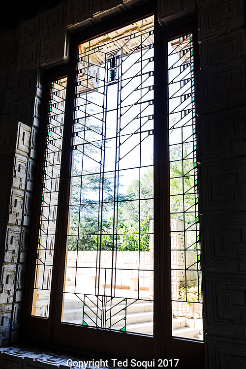 The Ennis House designed by Frank Lloyd Wright.<br /> Stained glass.