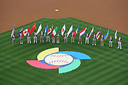 LOS ANGELES, CA - MARCH 21: General view from overhead as flag bearers carry the flags of the 16 competing teams as Korea gets ready to play against Venezuela during game one of the semifinal round of the 2009 World Baseball Classic at Dodger Stadium in Los Angeles, California on Saturday March 21, 2009. Korea defeated Venezuela 10-2. (Photo by Paul Spinelli/WBCI/MLB Photos)