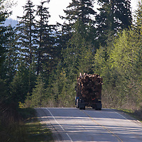 Logging truck north of Revelstoke British Columbia.