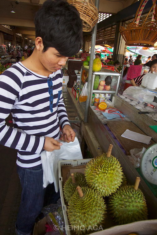 Phnom Penh, Cambodia. Central Market. Durian, the king of fruits.