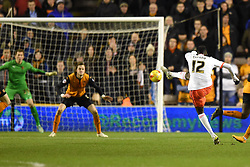 Fulham's Seko Fofana takes a shot at the Wolves net at Molineux Stadium - Photo mandatory by-line: Paul Knight/JMP - Mobile: 07966 386802 - 24/02/2015 - SPORT - Football - Wolverhampton - Molineux Stadium - Wolverhampton Wanderers v Fulham - Sky Bet Championship