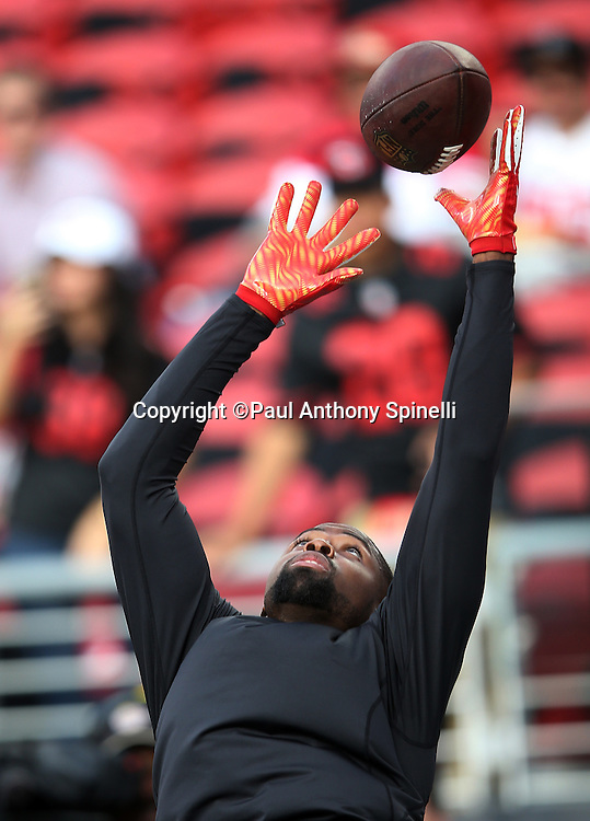 San Francisco 49ers wide receiver Torrey Smith (82) leaps and catches a pass while warming up before the 2015 NFL week 1 regular season football game against the Minnesota Vikings on Monday, Sept. 14, 2015 in Santa Clara, Calif. The 49ers won the game 20-3. (©Paul Anthony Spinelli)