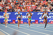 Stephenie Ann McPherson (JAM), second from left, wins the women's 400m in 51.11 during the Meeting de Paris, Saturday, Aug. 24, 2019, in Paris. From left: Lisanne de Witte (NED), McPherson, Kendall Ellis (USA) and Shakima Wimbley (USA). (Jiro Mochizuki/Image of Sport via AP)