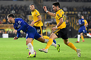 Wolverhampton Wanderers midfielder Joao Moutinho (28) fouls Chelsea Midfielder Eden Hazard during the Premier League match between Wolverhampton Wanderers and Chelsea at Molineux, Wolverhampton, England on 5 December 2018.