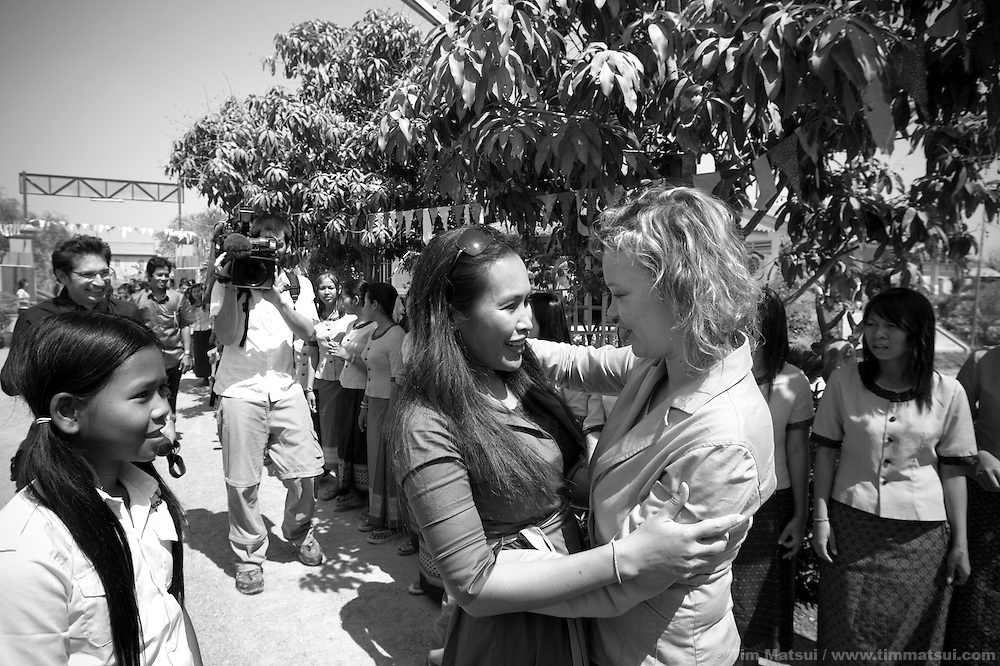 "Spanish Secretary of State for International Cooperation Leire Pajin, in pink, is greeted by Somaly Mam, in green, at Tom Dy, a residential facility of the non governmental organization ""Acting for Women in Distressing Situations"" (AFESIP), an ""A to Z"" Cambodian relief agency providing outreach, health services, retraining and residential housing in Phnom Penh, Cambodia. The Spanish provide substantial funding for AFESIP whose clients are victims of sex trafficking, ex-prostitutes, or domestically abused. Founded by Somaly Mam, who herself was once a prostitute and victim of trafficking and domestic abuse, AFESIP has three facilities in Cambodia and works with other NGO's to provide long term care for the women. An english translation of her autobiography will be released in September 2007."