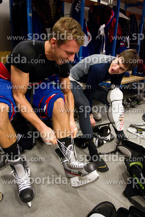 Miha Stebih and Gasper Cerkovnik  in wardrobe prior to the Practice session of Slovenian U20 ice-hockey team, on December 08, 2011 in Ledena dvorana, Bled, Slovenia. (Photo By Vid Ponikvar / Sportida.com)