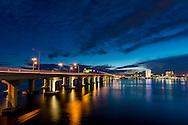 Interstate I-95 runs across the Fuller Warren Bridge over the St. Johns River in downtown Jacksonville.