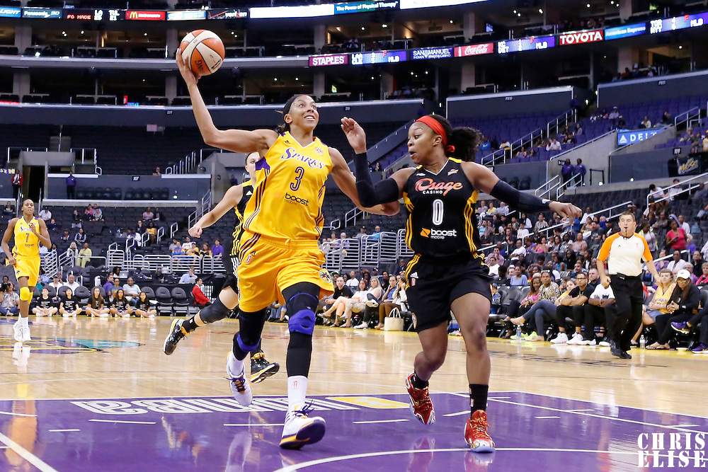 19 June 2014: Los Angeles Sparks forward/center Candace Parker (3) drives past Tulsa Shock guard Odyssey Sims (0) during the Los Angeles Sparks 87-77 victory over the Tulsa Shock, at the Staples Center, Los Angeles, California, USA.