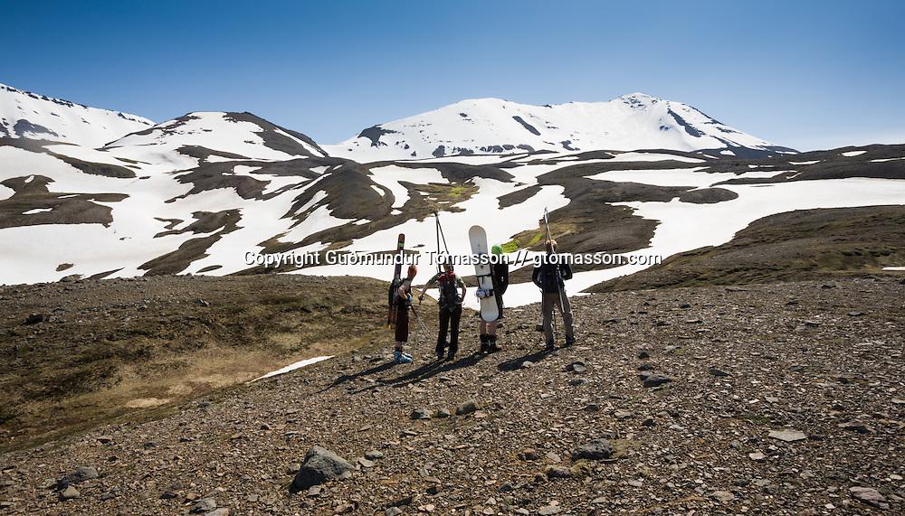 Helga Björt Möller and Óliver Hilmarsson ascending mt. 1124m.  Flateyjardalur, Iceland.