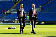 Adam Clayton (8) of Middlesbrough and George Saville (22) of Middlesbrough on the pitch ahead of the EFL Sky Bet Championship match between Cardiff City and Middlesbrough at the Cardiff City Stadium, Cardiff, Wales on 21 September 2019.