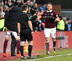 Hearts David Milinkovic celebrates with Kyle Lafferty on the touchline after scoring his side's third goal of the game during the Ladbrokes Scottish Premiership match at Tynecastle Stadium, Edinburgh. PRESS ASSOCIATION Photo. Picture date: Sunday December 17, 2017. See PA story SOCCER Hearts. Photo credit should read: Ian Rutherford/PA Wire. EDITORIAL USE ONLY