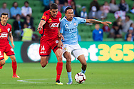 MELBOURNE, AUSTRALIA - APRIL 13: Melbourne City midfielder Kearyn Baccus (15) competes for the ball during round 25 of the Hyundai A-League soccer match between Melbourne City FC and Adelaide United on April 13, 2019 at AAMI Park in Melbourne, Australia. (Photo by Speed Media/Icon Sportswire)
