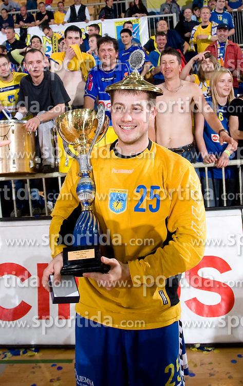 Rok Rapotec celebrates at Men Slovenian Handball Cup, final match between RK Cimos Koper and RK Celje Pivovarna Lasko, on April 19, 2009, in Arena Bonifika, Koper, Slovenia. Cimos Koper won 24:19 and became Slovenian Cup Champion. (Photo by Vid Ponikvar / Sportida)
