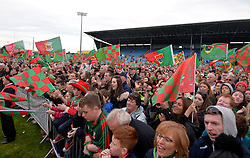 Mayo Gaa supporters rally around their crestfallen heroes at McHale Park Castlebar.<br />
