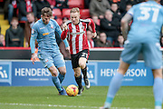 Mark Duffy (Sheffield United) runs into the box to set up another Sheffield United attack during the EFL Sky Bet League 1 match between Sheffield Utd and Bolton Wanderers at Bramall Lane, Sheffield, England on 25 February 2017. Photo by Mark P Doherty.