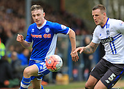 James Hooper, Peter Clarke during the The FA Cup match between Rochdale and Bury at Spotland, Rochdale, England on 6 December 2015. Photo by Daniel Youngs.