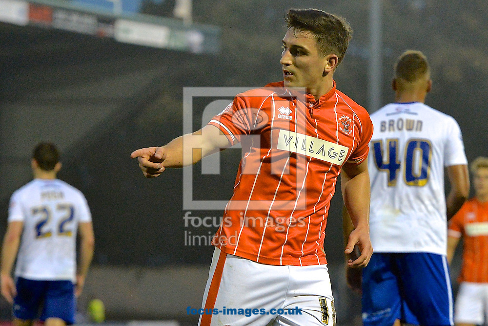 Jack Redshaw of Blackpool celebrates scoring their third goal to make it Bury 4 Blackpool 3 during the Sky Bet League 1 match at Gigg Lane, Bury<br /> Picture by Ian Wadkins/Focus Images Ltd +44 7877 568959<br /> 31/10/2015