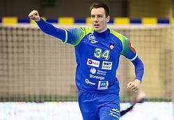 Rok Ovnicek of Slovenia celebrates during handball match between National teams of Slovenia and Netherlands in Qualifications of 2020 Men's EHF EURO, on April 14, 2019, in Arena Zlatorog, Celje, Slovenia. Photo by Vid Ponikvar / Sportida