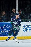 KELOWNA, CANADA - APRIL 30: Jarret Tyszka #5 of the Seattle Thunderbirds skates with the puck against the Kelowna Rockets on April 30, 2017 at Prospera Place in Kelowna, British Columbia, Canada.  (Photo by Marissa Baecker/Shoot the Breeze)  *** Local Caption ***