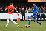 AFC Wimbledon midfielder Tom Soares (19) taking on Southend United defender John White (48) during the EFL Sky Bet League 1 match between AFC Wimbledon and Southend United at the Cherry Red Records Stadium, Kingston, England on 1 January 2018. Photo by Matthew Redman.