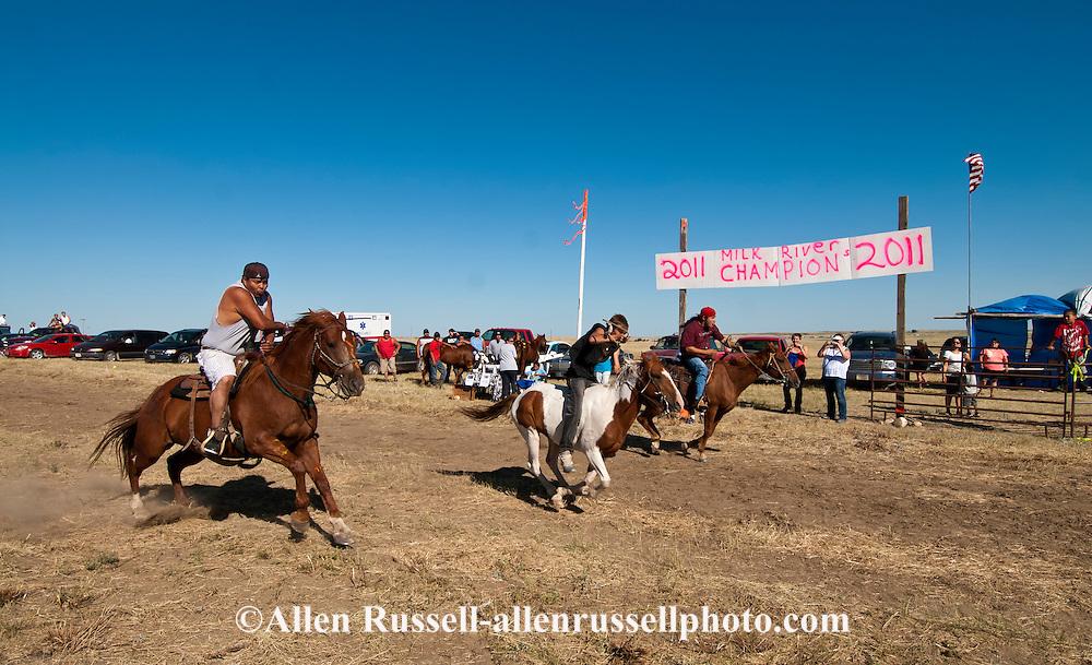 Fort Belknap Indian Reservation, Milk River Memorial Horse Races, Sweetheart Rescue Race, start..