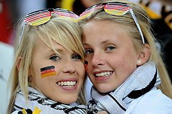 Two young female German fans before the 2010 FIFA World Cup South Africa Group D match between Ghana and Germany at Soccer City Stadium on June 23, 2010 in Johannesburg, South Africa.