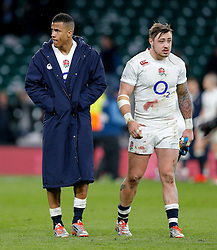 Winger Anthony Watson and Winger Jack Nowell look dejected after England win the match but come up just 6 points short of winning the Six Nations Championship - Photo mandatory by-line: Rogan Thomson/JMP - 07966 386802 - 21/03/2015 - SPORT - RUGBY UNION - London, England - Twickenham Stadium - England v France - 2015 RBS Six Nations Championship.