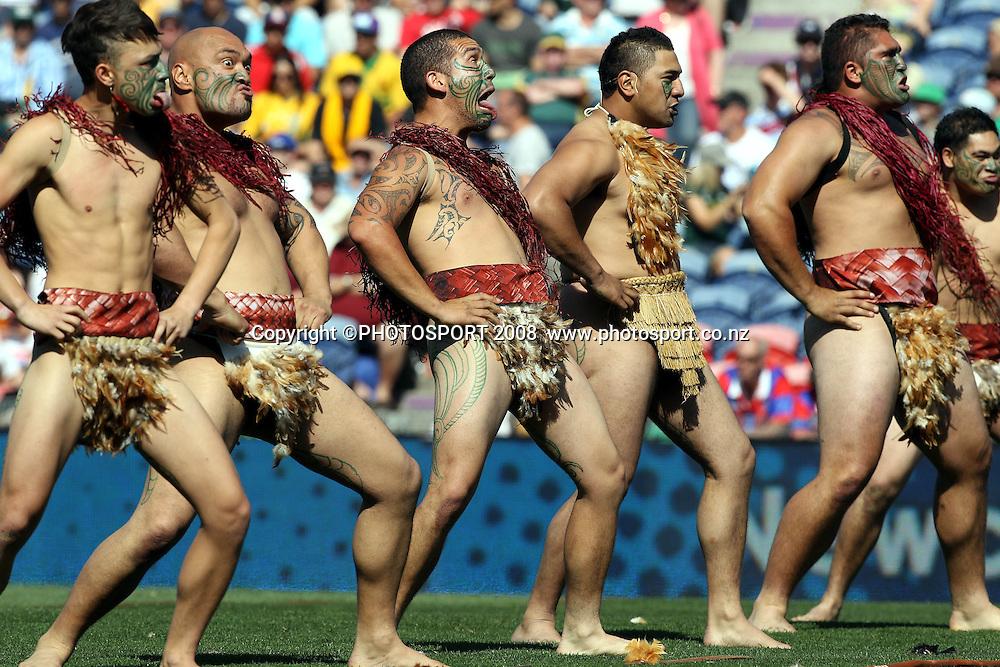 Maori haka<br /> Kangaroos v Kiwis. International rugby league test match. Ausgrid Stadium, Newcastle Australia. Sunday 16 October 2011. Photo: Paul Seiser/PHOTOSPORT