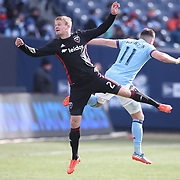 NEW YORK, NEW YORK - March 12:  Taylor Kemp #2 of D.C. United is challenged by Jack Harrison #11 of New York City FC during the NYCFC Vs D.C. United regular season MLS game at Yankee Stadium on March 12, 2017 in New York City. (Photo by Tim Clayton/Corbis via Getty Images)