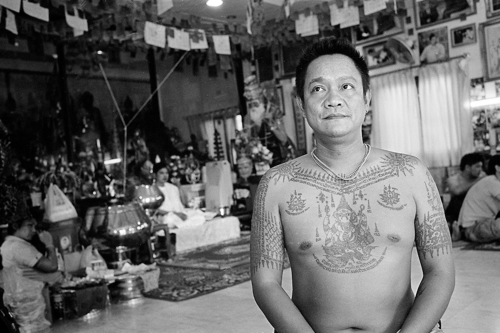 Thailand is a deeply spiritual country, in which both superstition and ritual tattooing play an active role. Traditional Thai tattoos are known as Yantra tattoos. They are believed to possess strong magical powers, which will protect the bearer as well as bring him or her good luck. With their alleged ability to break knife blades and stop bullets, this form of tattooing is particularly favoured by soldiers and the police force as well as, inevitably, by members of the underworld.<br />